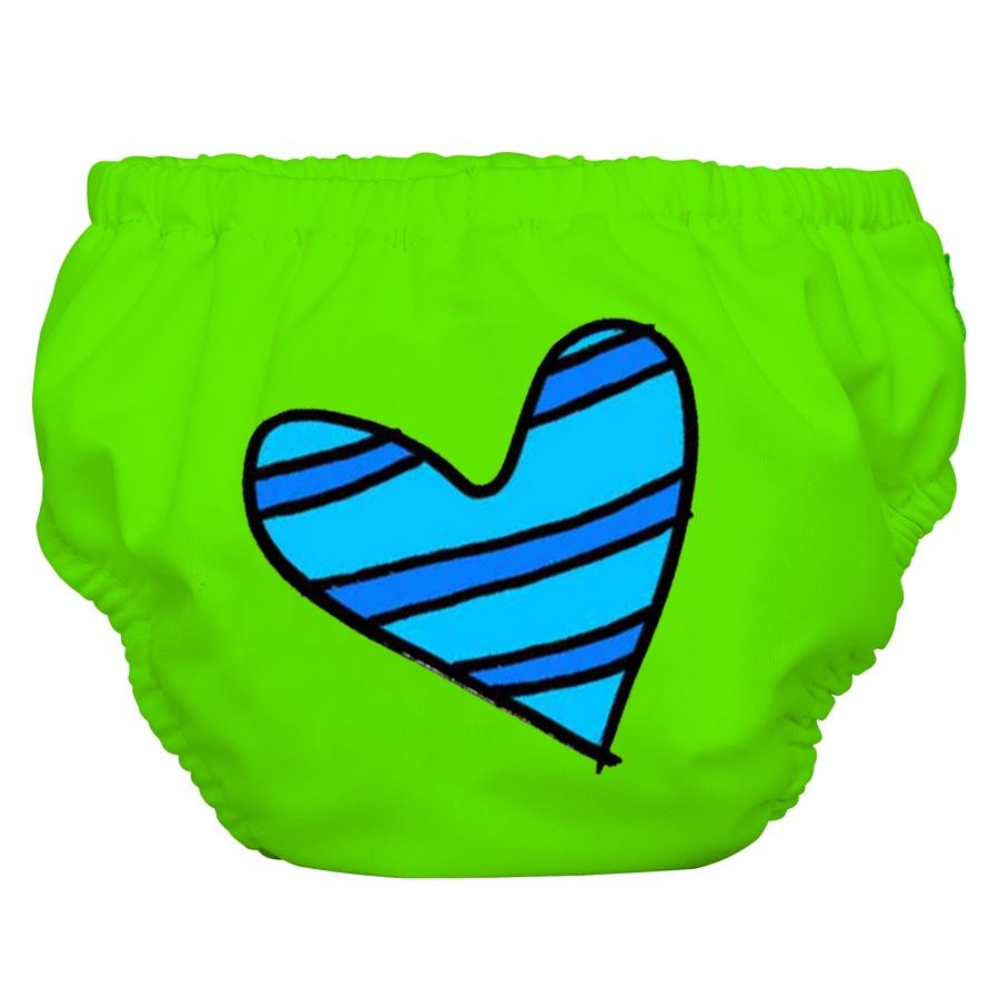 2 ב – 1 תחתון גמילה ובגד ים רב פעמי BLUE HEART ON GREEN