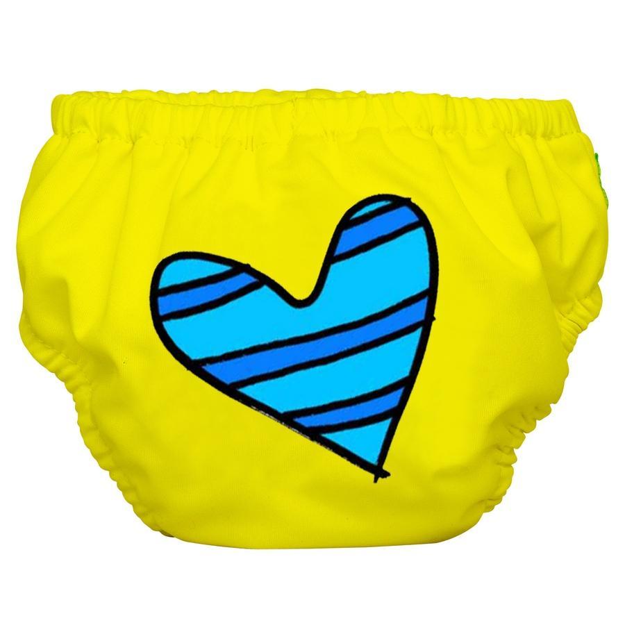2 ב – 1 תחתון גמילה ובגד ים רב פעמי BLUE HEART ON YELLOW